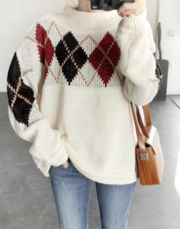 Color Argyle knit (* 2color)
