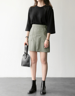 Short-sleeved angora knit (* 4color)