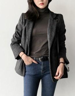 Wool herringbone coat (* 2color)