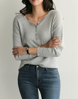 Elba button knit (* 4color)