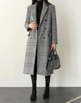 Glen check long coat (* 2color)
