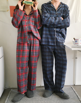 Couple check pajama set (* 2color)