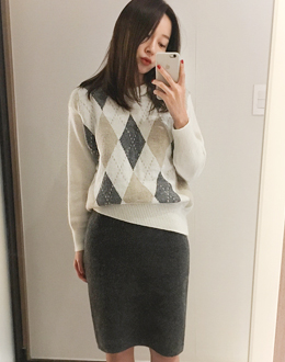 Baltic argyle knit (* 2color)