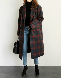 Loom's Check Long coat (* 3color)