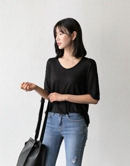 U-neck Short-sleevet (* 4color)
