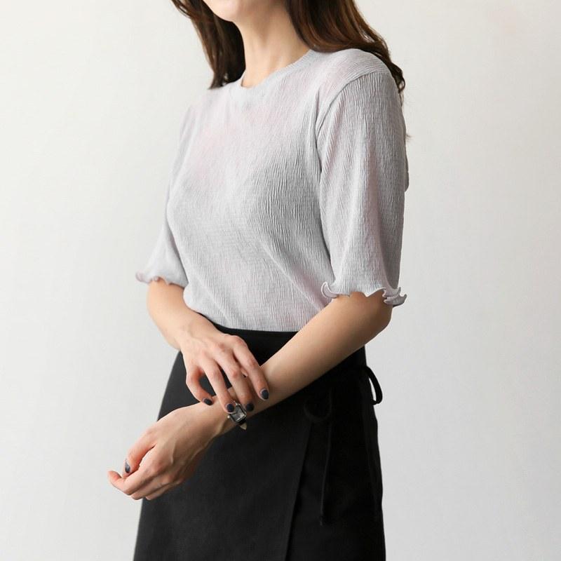 Bladed short-sleeved bl (* 4color)