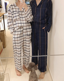 Modern Check Pajama set (* 3color) Navy (man)
