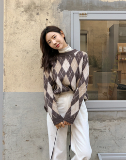 Argyle color combination knit (* 3color)