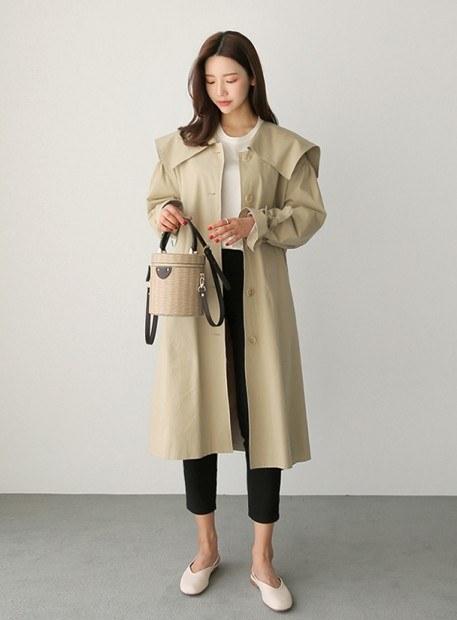 Big color Trench coat (* 2color) Beige