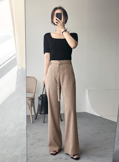 Belt Slacks pants (* 2color) Browns