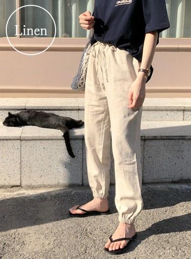 Linen jogger pants (* 2color)