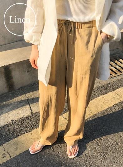 Linen Wide Banding pants (* 2color)
