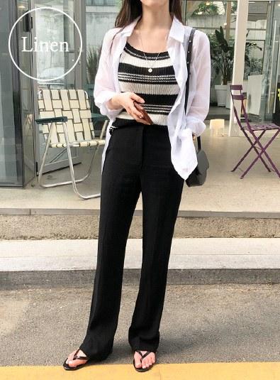 Linen Long Slacks pants (* 2color)