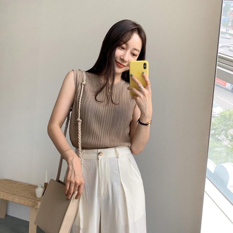 Lea Sleeveless shirts knit (* 4color)