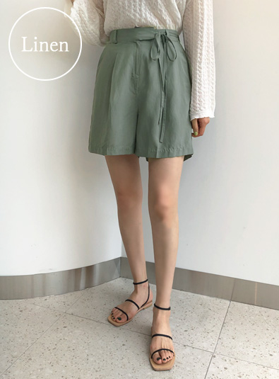 Pintuck Linen Short pants (* 3color) Beige