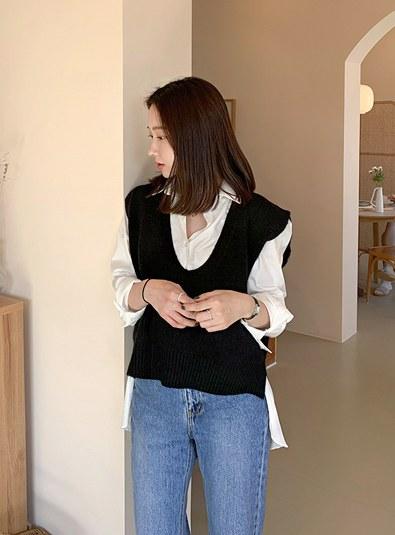 V-neck Vest knit (* 4color)
