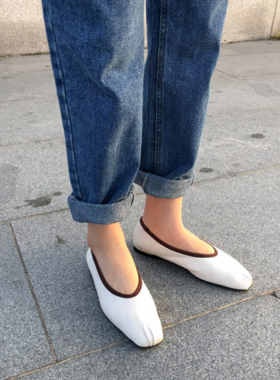 Corse flat shoes (* 3color) Black240 / Ivory235