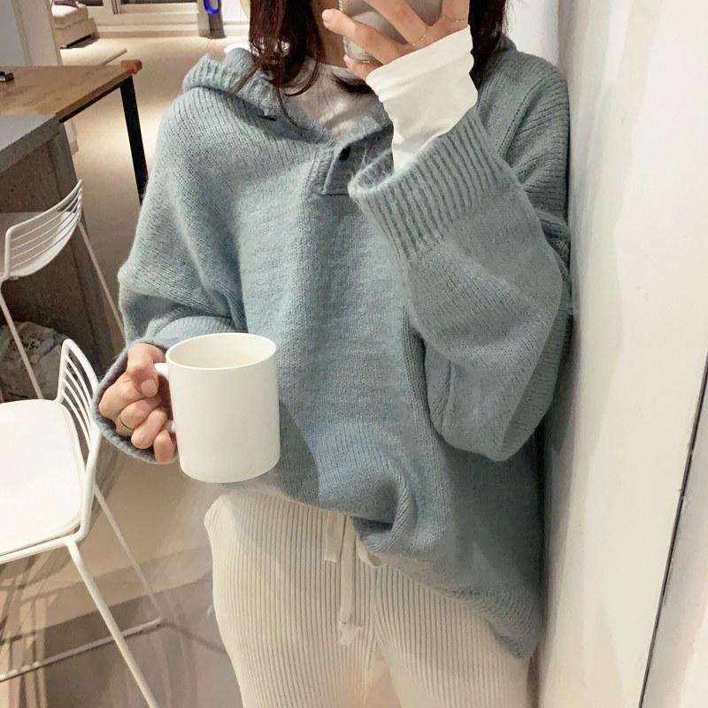 Button hood knit (* 4color)