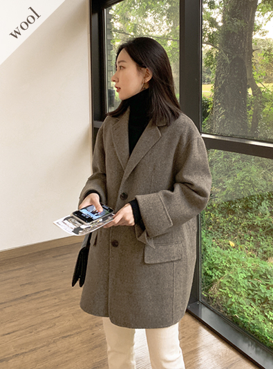 [Wool wool 90] Two button handmade coat (* 2color)