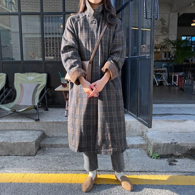 [Fur lining ♥] [Wool wool 40] check winter coat (* 2color)