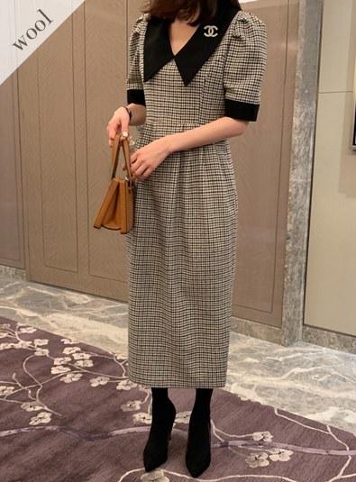[Wool wool 10] Big Cara Check ops (* 2color)