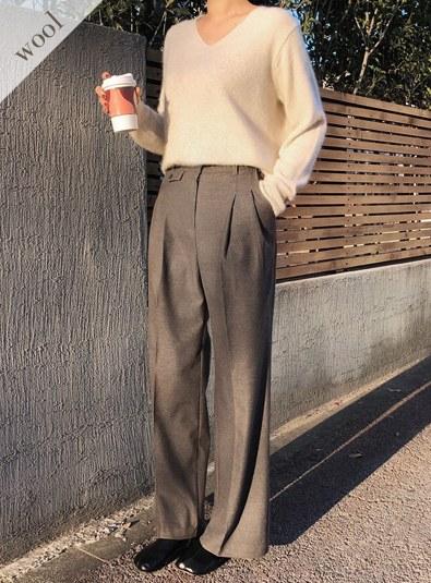 [Wool wool 12] Pintuck Wool pocket pants Graym Beiges
