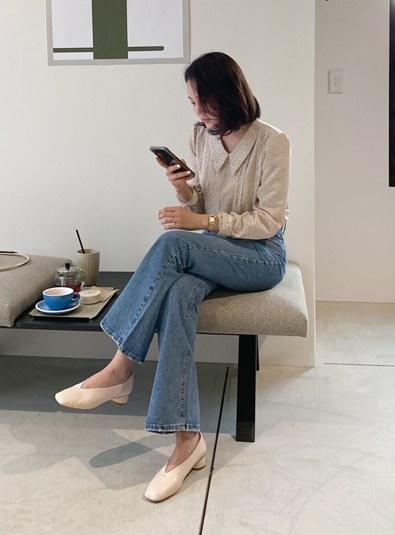 [md Recommend ♥] Blue Long Boot cut pants