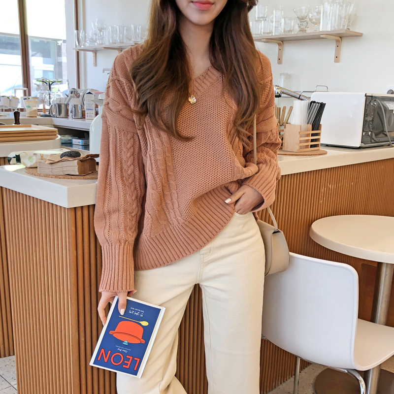 Peach V-neck knit (* 3color)