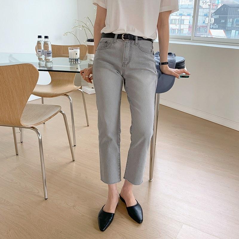Light gray Straight pants
