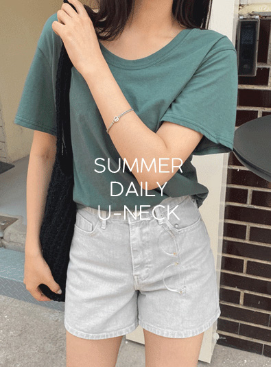 Daily U-neck t (*4color) Beige Black Dark green