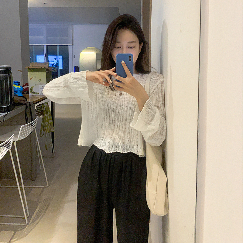 [Quangku] Vintage crop knit (*3color)