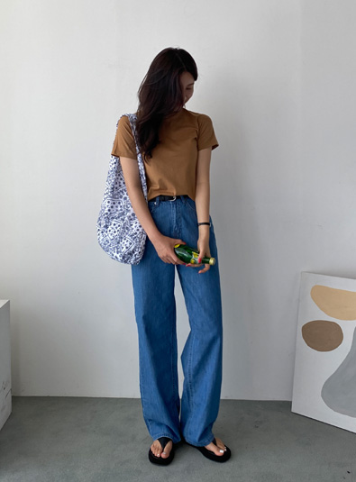 [Belt set] Bluening Denim pants