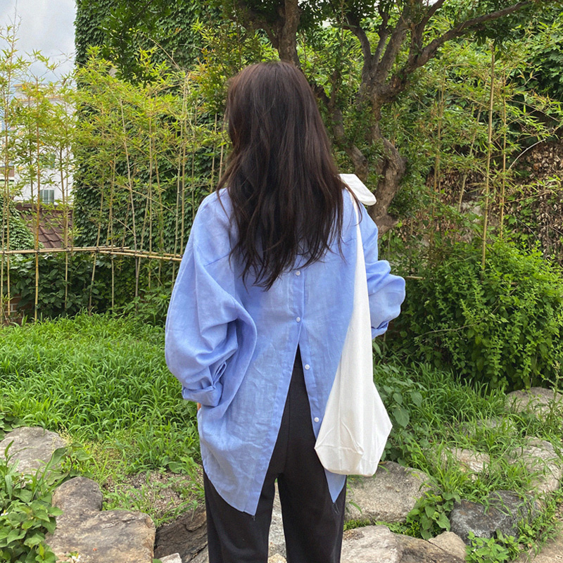 [Quangku] Back button linen nb (*4color)