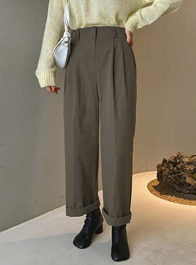 Buckle Pin Tuck pants (*3color)