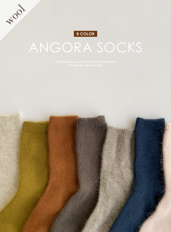 [Angora 30] Plain Angora socks (*8color)